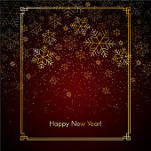 Christmas New Year background with gold snowflakes Text of Happy New Year Red festive winter background Christmas and New Year pattern of gold snowflakes in a frame Chinese theme Vector illustration