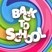 Poster white letters Back to school on a bright background colorful lines Creative design young theme modern concept on holiday Back to school Theme of education and study Autumn school sale Vector