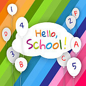Banner cloud with balloons on a bright background colorful lines Text Hello, School Back to school Creative design young theme modern concept on holiday Back to school Theme of education study Vector