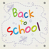 Banner bright letters Back to school on a background of a notebooks sheet lines drawn Creative design young theme modern concept on holiday Back to school Banner theme of education and study Vector