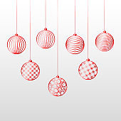 Christmas background red ball toy on a blue background Festive background for Christmas and New Year Pattern of red line toy ball Christmas theme ornament Heder Winter festive background Vector set