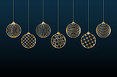 Christmas background Gold balls toy on a blue background Festive background for Christmas and New Year Pattern of gold line toy ball Christmas theme ornament Heder Winter festive background Vector set