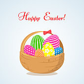 Basket with bright Easter eggs a symbol of the feast of Easter Decorative design element in a flat style for greeting cards posters banners advertising Isolate Happy Easter text Vector graphics