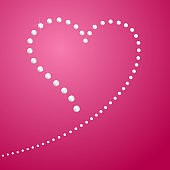 Drawing of the heart A line of pearls in the shape of a heart Symbol of love and marriage Blank template for greeting card banner poster for Valentine's Day design element Romantic background Vector