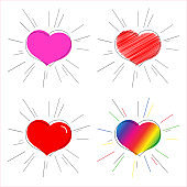 Pink red and rainbow heart with rays Symbol of love and marriage for Valentine's Day Decorative heart for the design of greeting card wedding invitation poster banner template Heart sticker set Vector
