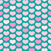Seamless pattern from pink hearts on a turquoise background Decorative ornament of hearts for design of templates greeting cards banners posters for Valentine's Day Romantic pattern wallpaper Vector