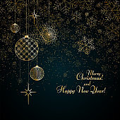 Christmas background Gold balls toys stars snowflakes glitter on a blue background Text Merry Christmas and Happy New Year Pattern of gold lines toy ball Christmas theme Celebratory background Vector