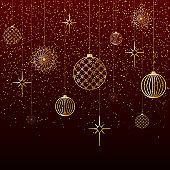 Christmas background Gold balls toys stars snow glitter on a red background A festive background for Christmas and New Year A pattern of gold lines toys balls a Chinese New Year theme Vector header