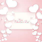 Romantic pattern with hearts on a gentle pink background Text of Happy Valentine's Day Template for posters banners advertising for Valentine's Day wedding cards Creative design Love background Vector