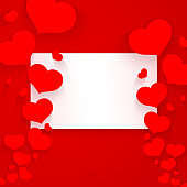 Romantic pattern with hearts and white banner on a red background Empty template for poster banner Valentine's Day advertisements wedding card cover Creative element design Love background art Vector