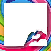 Baby hands in the shape of a heart on a bright colorful background White banner Creative modern youth concept of posters banners templates advertising Element design Abstract clean background Vector