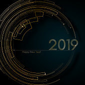Circle gold futuristic lines 2019 New Year Blue background Modern creative design element luxury futuristic cards invitations for the New Year 2019 Modern design Circle pattern gold lines 2019 Vector
