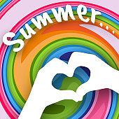 Children's hands in the shape of heart and text Summer on a colorful abstract background Creative modern youth concept of posters banners templates advertising Element design Summer background Vector