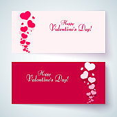 Cards with pink hearts on a romantic background Pattern from hearts and text Happy Valentine's Day for the design of congratulatory postcards banners posters templates for Valentine's Day Set Vector