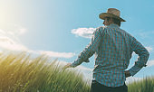 Farmer looking at the sun on the horizon