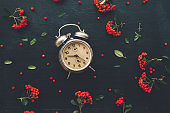 Flat lay vintage alarm clock