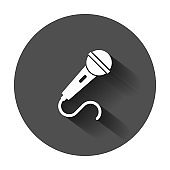 Microphone icon in flat style. Mic broadcast vector illustration with long shadow. Microphone mike speech business concept.