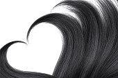 Hair in shape of heart on white