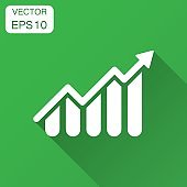 Growing bar graph icon in flat style. Increase arrow vector illustration with long shadow. Infographic progress business concept.