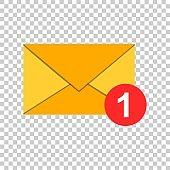 Mail envelope icon in flat style. Email message vector illustration on isolated background. Mailbox e-mail business concept.