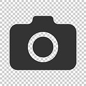 Photo camera icon in flat style. Photographer cam equipment vector illustration on isolated background. Camera business concept.