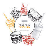 Vector fast food menu design
