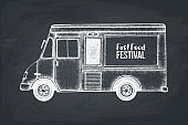 Vector fast food truck sketch on chalkboard