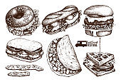 Vector collection of fast food sketch
