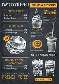 Fast food menu design template on chalkboard