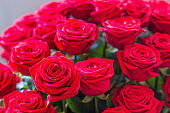 bouquet of red roses for bride