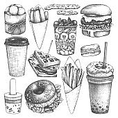 Fast food illustrations collection.