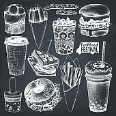 Vector fast food on chalkboard