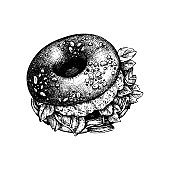Vector bagel sketch