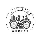 Lady or Women City Comfort Bike with a Basket and Trunk Emblem, Badge. Monochrome Vector Illustration
