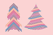 Vector Geometric Christmas Trees. Merry Christmas and Happy New Year Design Elements