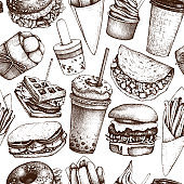 Vector fast food pattern