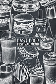 Vector fast food menu design on chalkboard