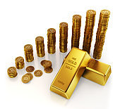Gold bars and bitcoin virtual currency coins.
