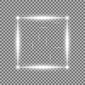Square with light effects, laser, sparks, white color