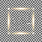 Square with light effects, laser, sparks, golden color