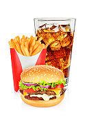 Hamburger cola and french fries