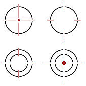 Shot on target icon sign
