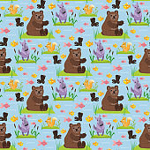 Bear character teddy pose vector seamless pattern background wild grizzly cute illustration adorable animal design