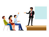 Business people vector groups presentation to investors conferense teamwork meeting characters interview illustration