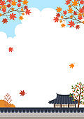 Maple tree with Korean traditional house and Korean traditional wall fence landscape.Mid autumn festival(Chuseok)background