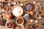 assorted baking ingredient for christmas