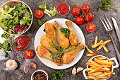 grilled chicken leg and french fries