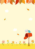 Autumn background with mailbox and bird