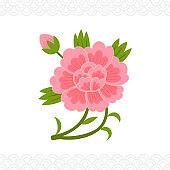 Korean traditional decorative flower element
