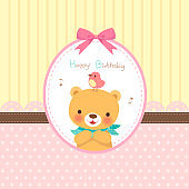 Happy birthday card.Cute bear with bird in pink ribbon  frame
